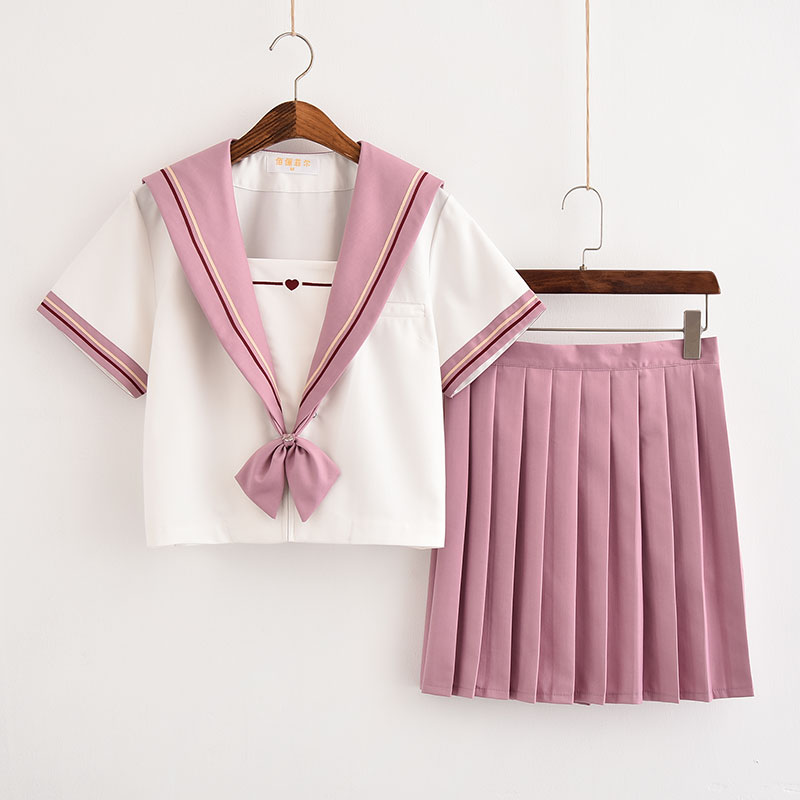 Japanese High-end Sailor Suit Soft Sister Middle School Pleated Skirt College Wind Class Suit Unqualified Girl Pink Jk Uniforms