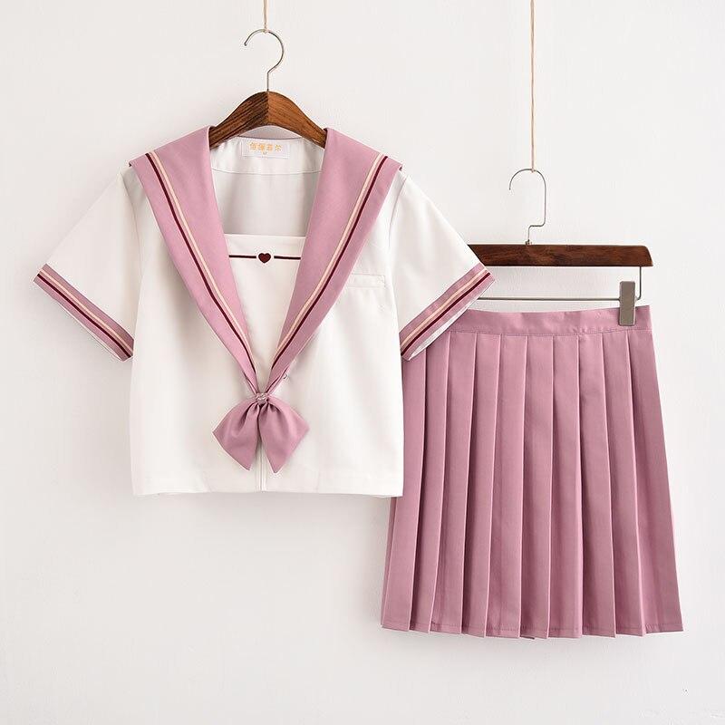 Japonais haut de gamme marin costume doux soeur collège plissé jupe collège vent classe costume fille non qualifiée rose jk uniformes