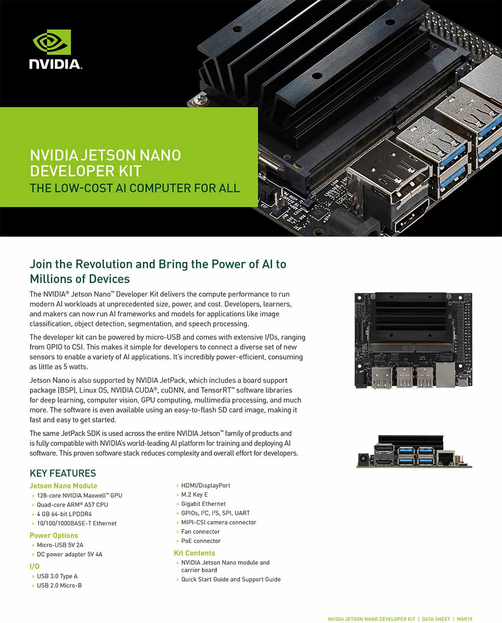 NVIDIA Jetson Nano Developer Kit for Artiticial Intelligence Deep Learning  AI Computing,Support PyTorch, TensorFlow Jetbot