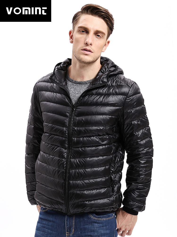Vomint Hot Sale Men's Fashion Warm Down Coat Jacket Thin Hooded Autumn Winter Jacket Leisure Thin Feather Jacket Male Coat