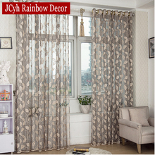 Pastoral Leaves Sheer Tulle Curtains For Living Room Window Kitchen Door Curtains For Bedroom Voile Curtain Fabric Drapes