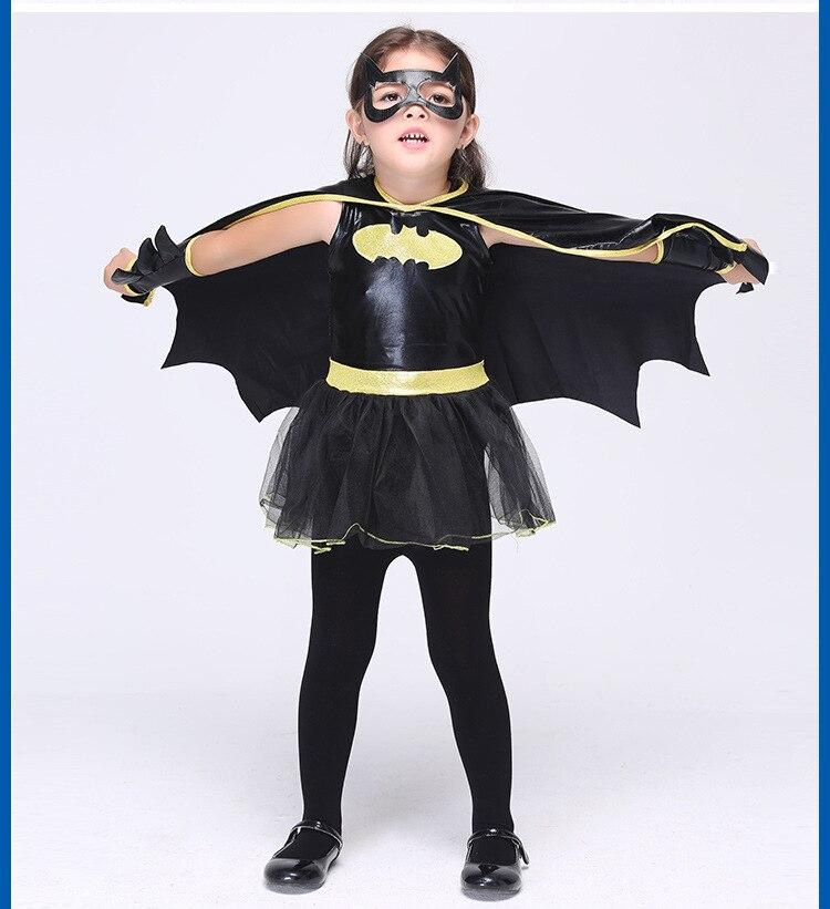 Girls Batman Cosplay Anime Clothing Child Batgirls Fantasy Fancy Dress Kids Carnival Party Halloween Costume Girls Batman Set