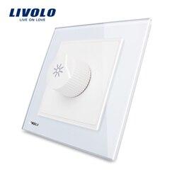 Cavaleiro Black Crystal Painel de Vidro LIVOLO REINO UNIDO padrão AC 110 ~ 250V Dimmer Light Switch VL-W291G-11/12/ 13