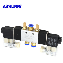 Built-in E DC12V, DC24V or AC220V AC110V4V220-08 pneumatic solenoid valve 5 way 2 position 1/4 aluminum alloy