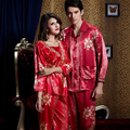 Emulation Silk Couple Pajamas Sets Three Quarter Sleeve Sleepwear Square Collar Red Color Pyjama Set Plus Big Size XXXL 520