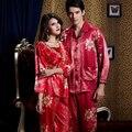 Pareja de emulación de Seda Pijamas de Manga Tres Cuartos Cuello Cuadrado Color Rojo Pijama de Dormir Set Plus Gran Tamaño XXXL 520