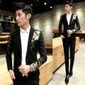 Impresión Del Oro negro Chaqueta de Los Hombres 2016 Nueva Llegada Slim Fit Blazer Terno Moda Masuclino Homme Negocio de La Boda Del Partido de La Vendimia
