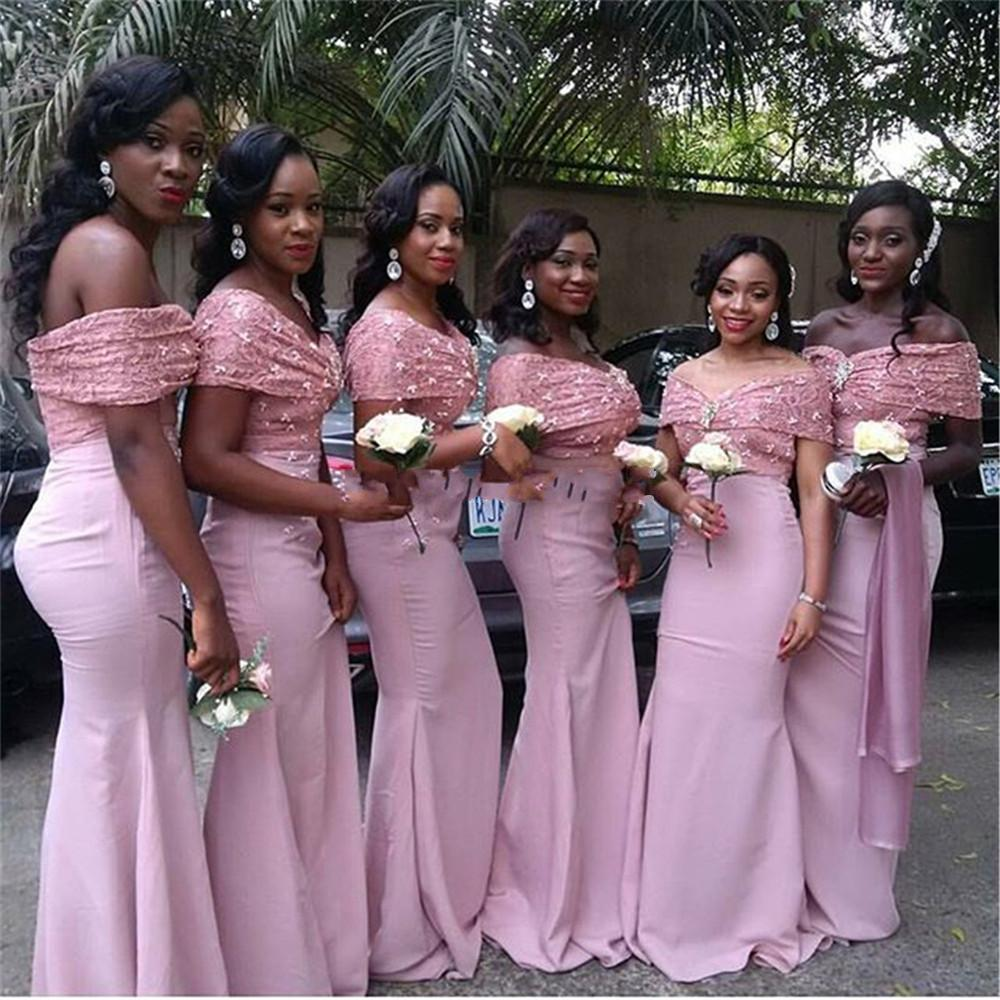 African Mermaid Pink Lace   Bridesmaid     Dresses   Long 2019 Off The Shoulder Appliques Satin Prom   Dress   Wedding Party Gown