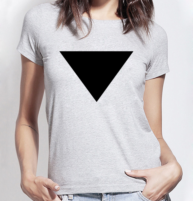 2017 Funny hipster Triangle letters printed T-shirts female harajuku Cotton casual shirt for lady summer brand punk fashion tops