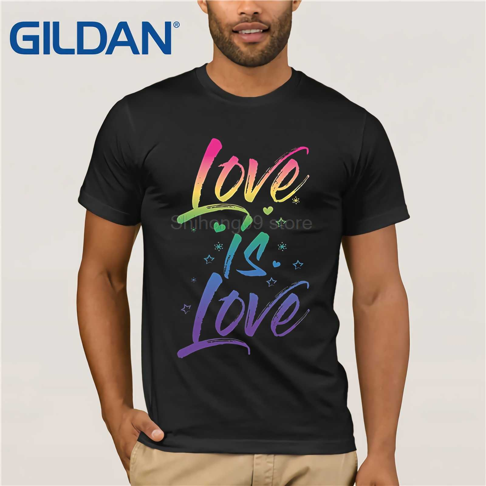 5d522d1b6 GILDAN Gay Pride Shirt Rainbow Script Love is Love LGBT Cute TShirt Funny  men's print t
