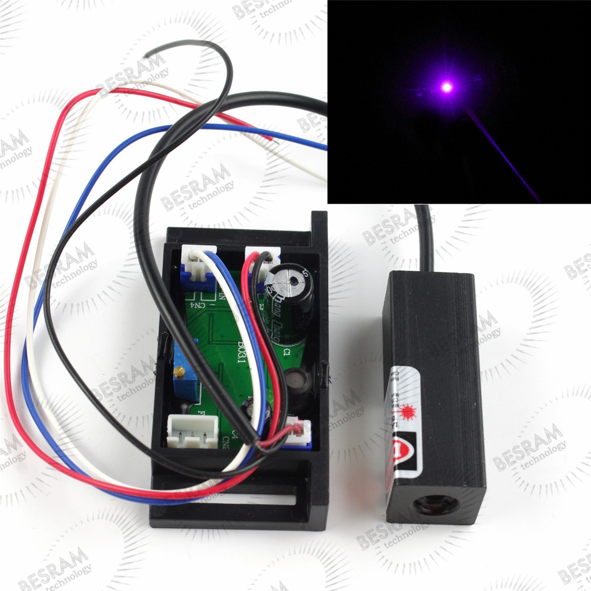 Blue Violet 405nm 10mW Laser Lazer Diode Module with TTL Stage Lighting Show Blu Ray
