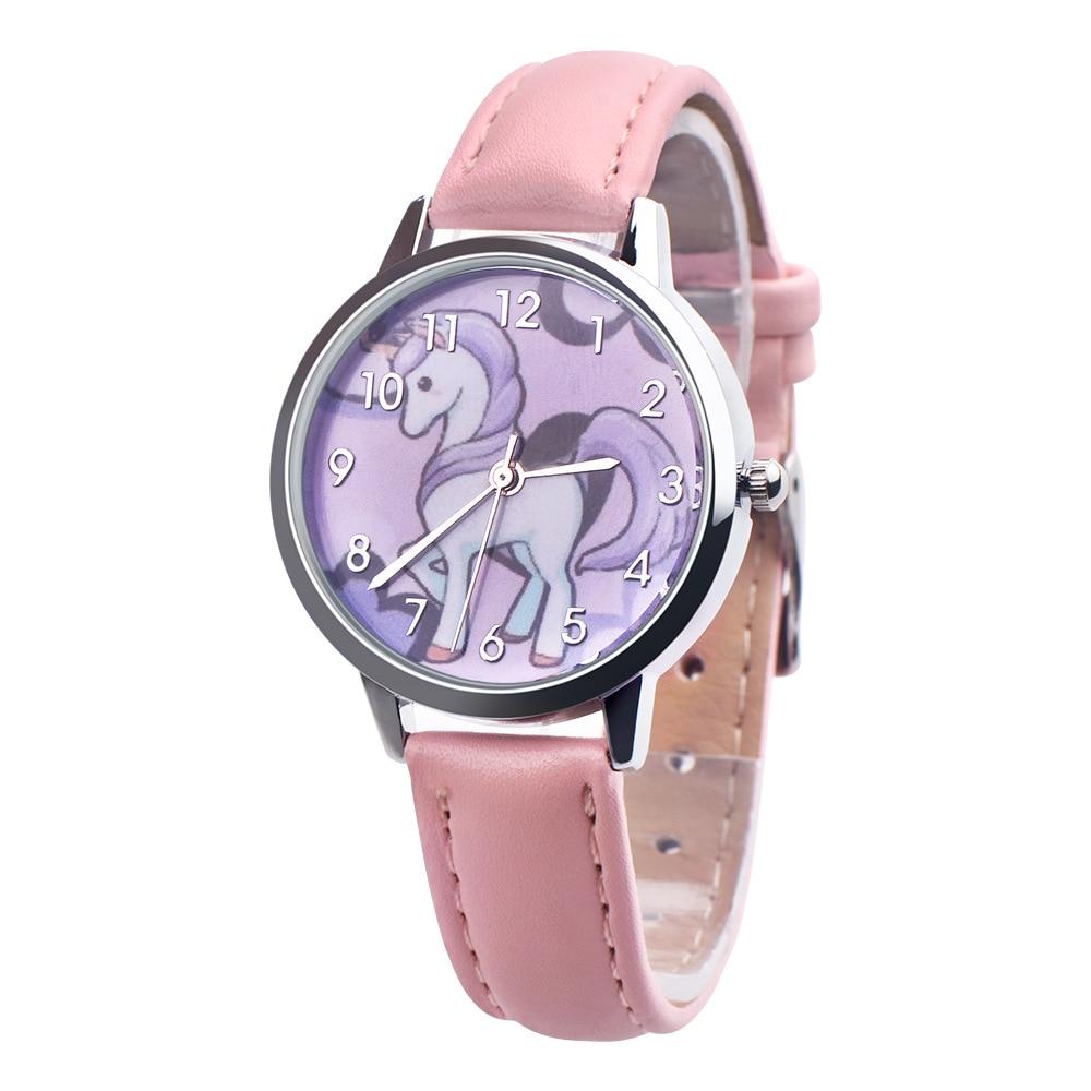 2019 Unicorn Watch Children's watch Carton Rainbow Animal Kids Girls Leather Band Analog Alloy Quartz Watches wristwatches