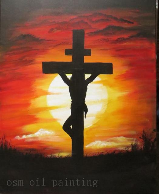 0a1ebc750 Pintura de Jesus Cristo na Cruz Atrylic Mão sobre o parede Abstrata Moderna  Handmade da Pintura