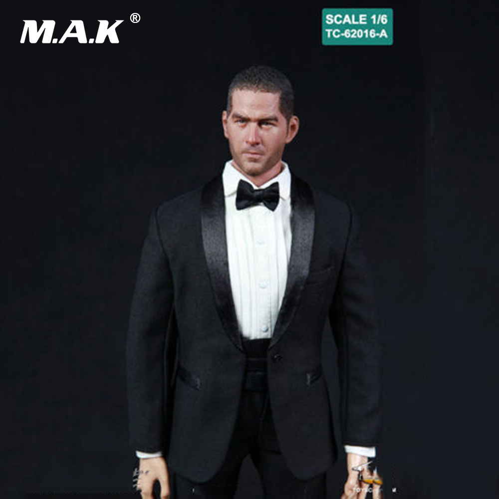 1/6 Scale Male Clothes Black Tuxedo Suits Set Clothes Fit 12 Man Action Figure Body