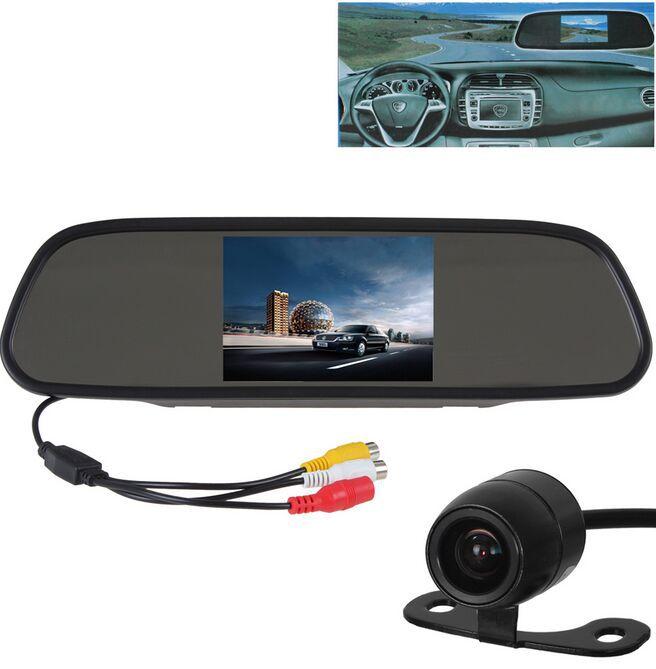 imágenes para 5 Pulgadas TFT LCD 480x272 Espejo Retrovisor Del Coche Aparcamiento Monitor + 18mm Color Impermeable Auto Del Coche Retrovisor Cámara de Marcha Atrás