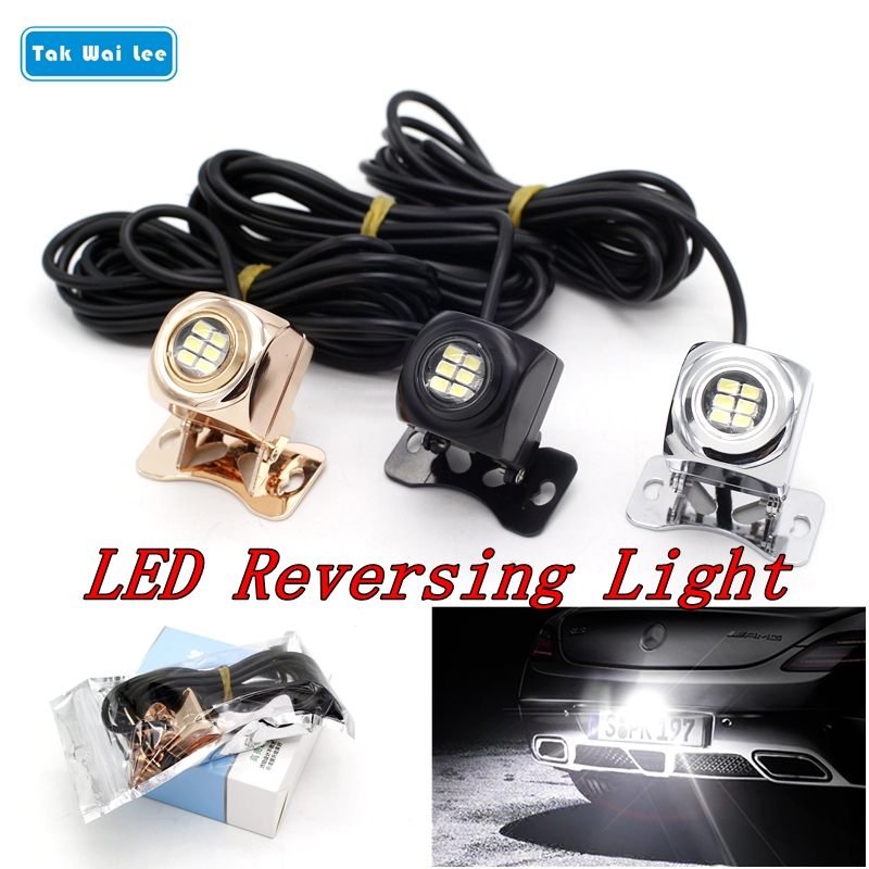 Tak Wai Lee 1Pcs 30W LED Reverse Tail Light Car Styling Source Golden Silver Black Body Error Free Backup License Plat Lamp 2x xenon white car styling canbus error emitter led t15 360 5050smd 921 912 w16w led backup parking reverse lights car led