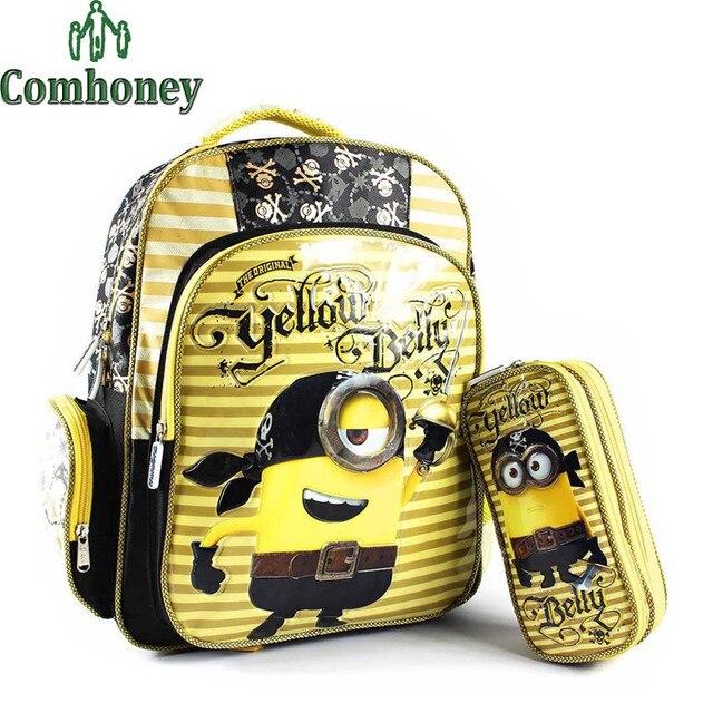 281161ab7 Minion Schoolbag Minion Backpack School Boys Girls PU Leather Cartoon  Backpacks for Children School Backpack Kids Bookbag