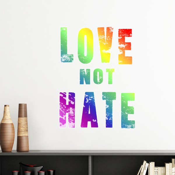 LGBT Rainbow Gay Lesbian Transgender Bisexuals Support Love Not Hate Flag Illustration Wall Sticker Art Wallpaper for Room Decal