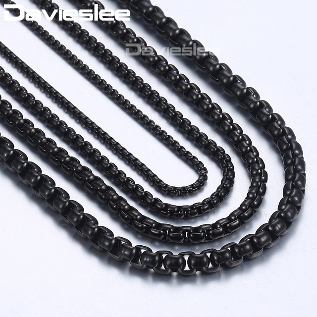 """Davieslee Mens Necklace Chains Stainless Steel Black Round Box Link Chain Necklaces for Men Wholesale Jewelry 18-36"""" DLKNM118"""