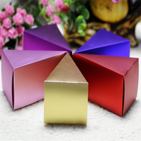50Pcs Aluminum Foil Triangular Cake Candy Box Wedding Box Candy Bag For Baby Shower Gifts Boxes