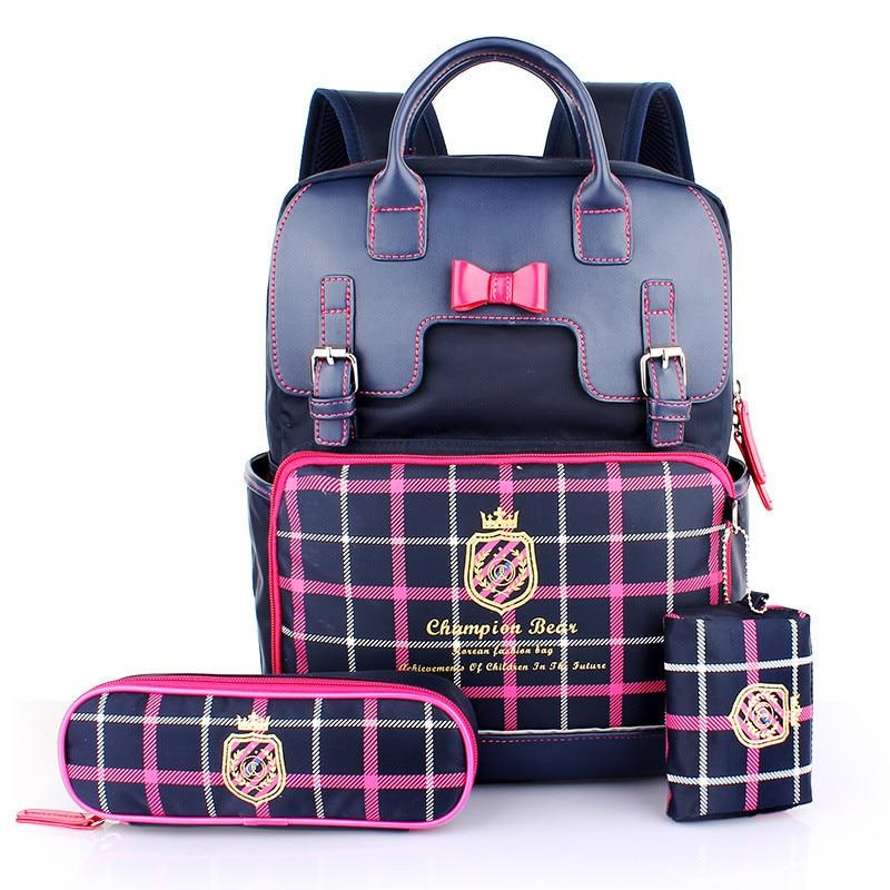 ФОТО 3PCS 1 SET Waterproof Children School Bags For Girls Boys Orthopedic Randoseru Backpack Kids Bag mochilas escolares infantis