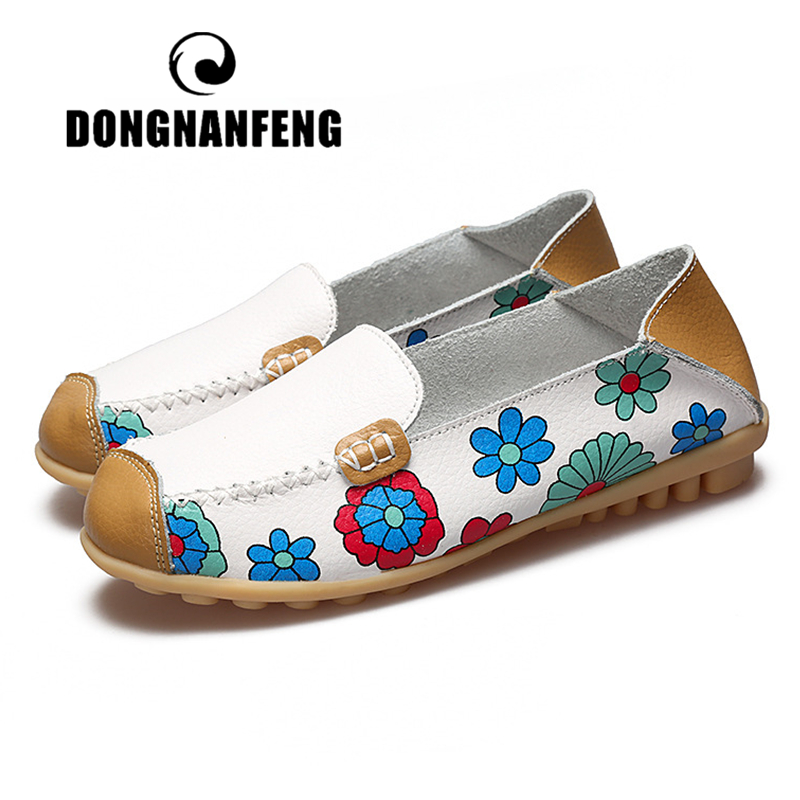 DONGNANFENG Ladies Mother Women Female Genuine Leather Shoes Flats Soft Spring Autumn Flowers Slip On Plus Size 42 43 44 XY-Y178