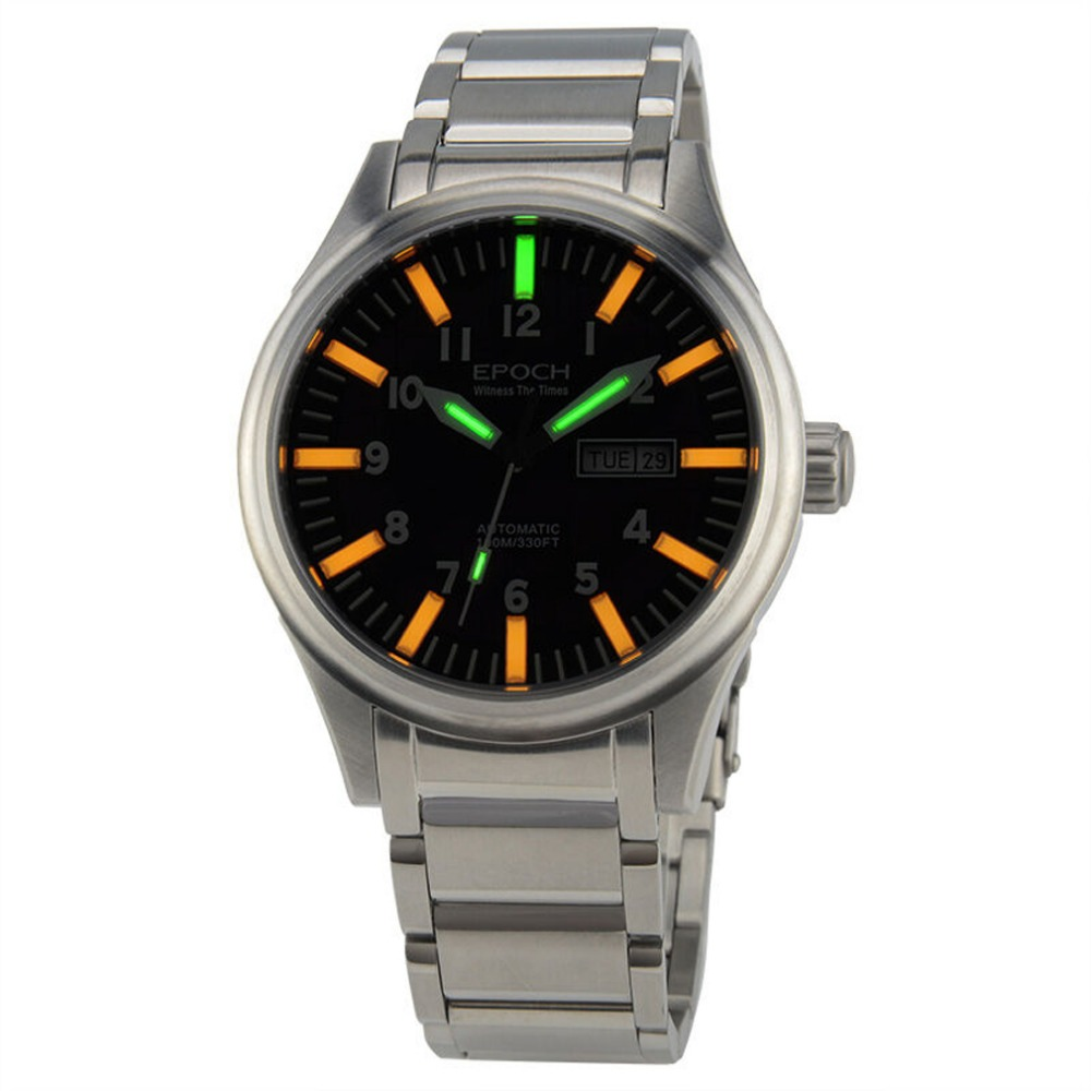 EPOCH 7016G steel strap waterproof 100m tritium gas 3 colors luminous mens business mechanical watch yelang v1015 upgrade version khaki number tritium gas yellow luminous men automatic mechanical business watch steel watchband