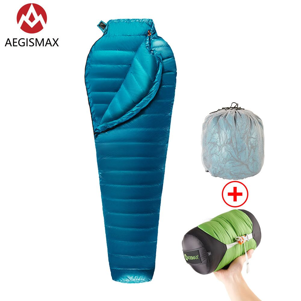 AEGISMAX M2 new upgrade Ultralight Mummy 95 White Goose Down Sleeping Bag Outdoor Camping Hiking Fully
