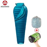 Aegismax m2 nova atualização ultraleve múmia 95% ganso branco para baixo saco de dormir acampamento ao ar livre caminhadas totalmente estrutura forro