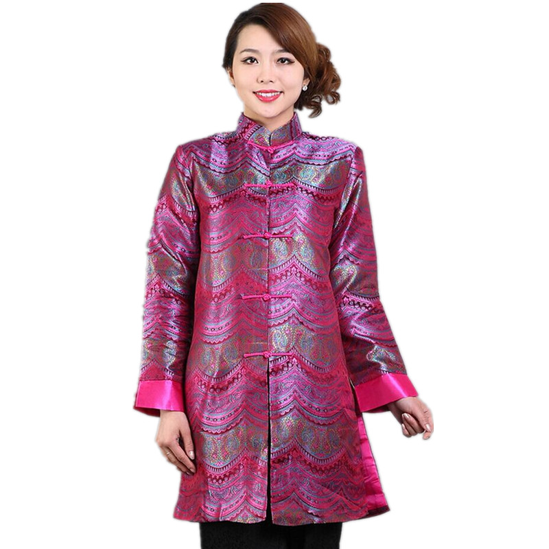 Discount Hot Pink Chinese Lady Silk Satin Jacket Mandarin Collar Slim Outwear Button Flower Coat Free Shipping Size S To XXXL