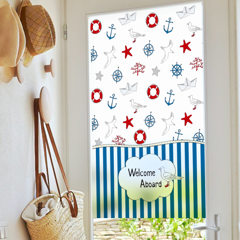 Custom Static Cling Stained Glass Window Film Frosted & Opaque Privacy Home Decor Digital print Removable BLT413 Sailing