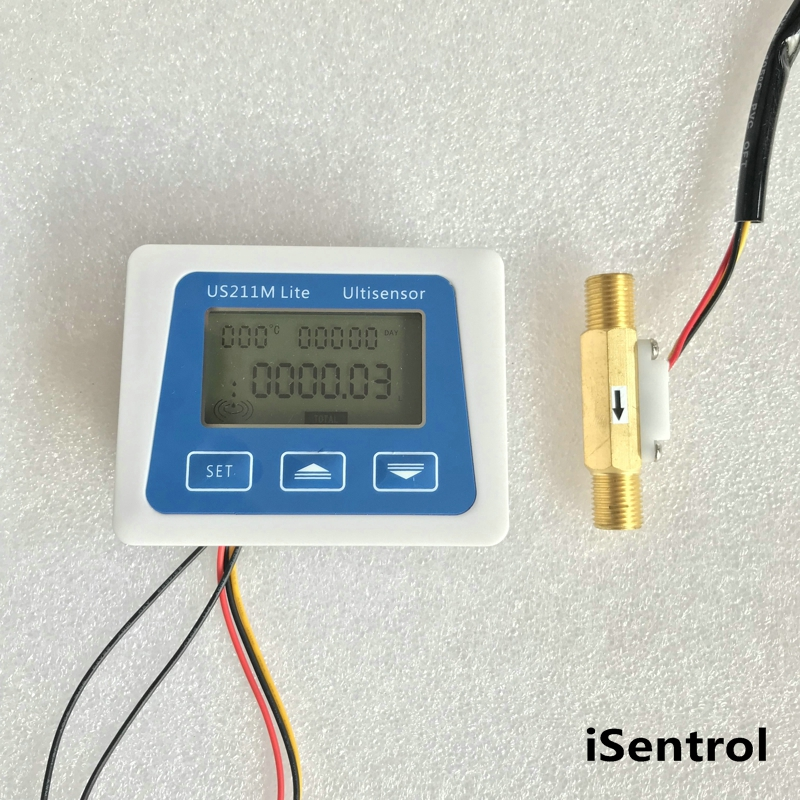 US211M Lite USC-HS41TA 0.5-3.5LPM Digital Flow Meter 5V Flow Reader Compatible with all our hall effect water flow sensor& temp