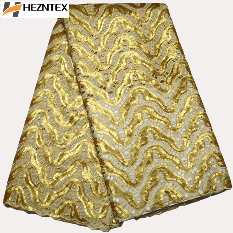 Gold Organza Laces Fabric With Sequins Lace High Quality Nigerian Wedding Lace Fabric 5Yards African Mesh