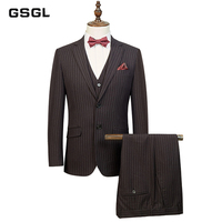 Striped Men Suits Notched Lapel Blazer with Handkerchief Formal Business Casual Slim Fit Suit Separate (Blazer, Pant, and Vest)