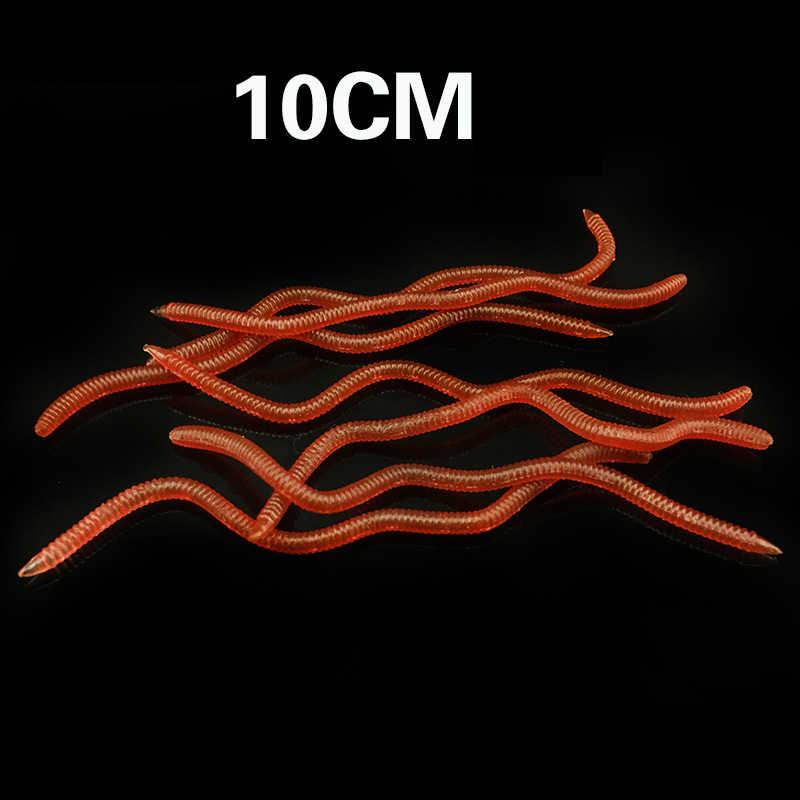 40 ชิ้น/ล็อต Super Toughness ตกปลานุ่มล่อหนอน 8 ซม.10 ซม.เกลือซิลิโคน Drop Shot Texas Bass ประดิษฐ์ Earthworm rigs กับกล่อง