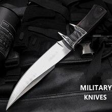 Combat Rambo มีดปฏิบัติใบมีดมีด Camping การล่าสัตว์กลางแจ้งมีดกู้ภัย EDC Essential เครื่องมือป้องกันตัวเอง