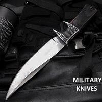 Cuchillo de combate Rambo, hoja fija práctica, para acampar, caza al aire libre, supervivencia, EDC, herramientas esenciales de autodefensa