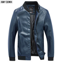 New 2017 Spring Autumn New Men's Leather Jacket Pure Color Leather Teenager Fashion Baseball Tie Locomotive Big Size Coats