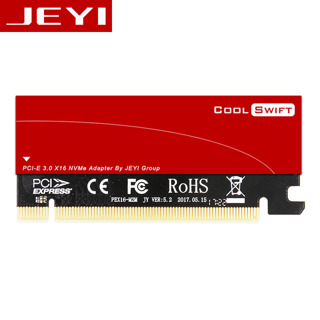 JEYI Cool Swift NVME M.2 X16 PCI-E Riser Card 2280 Thermal Conductivity Silicon Wafer Cooling Dust-proof Aluminum Sheet Gold Bar
