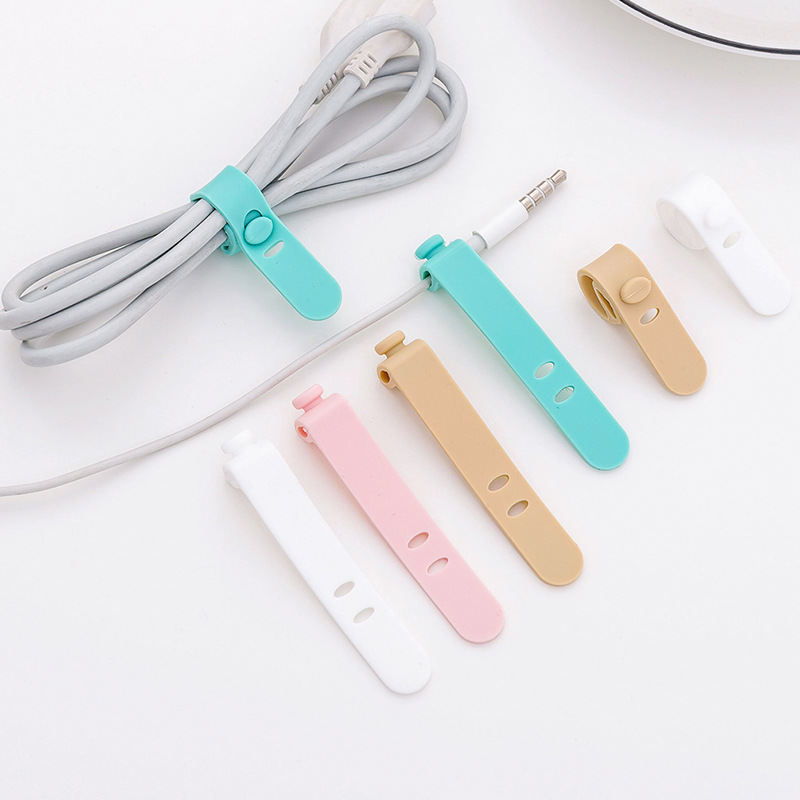 4pcs/Lot New Solid Color Cable Winder Organizer Wire Data Line Holder Line Fixer Winder Wrap Cord Stationary Desk Set
