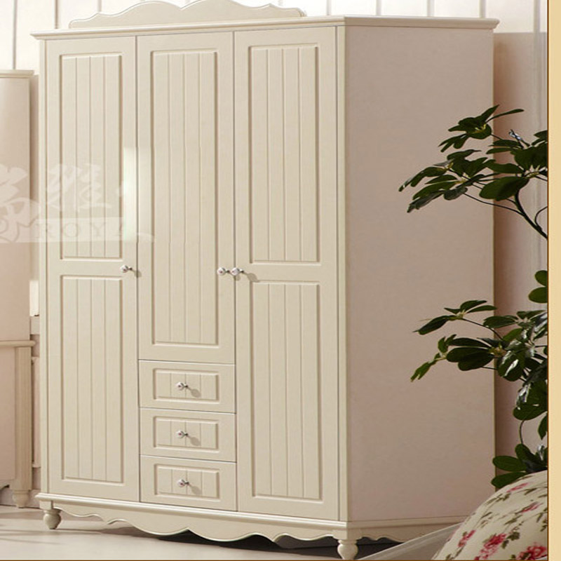 European Bedroom Furniture Solid Wood White Wardroble Armoire Dresser