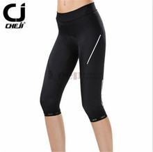 CHEJI Women Black good breathable Cycling Capri pant Bike Bicycle outdoor sport Shorts