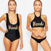2017 Summer Sexy Women Bikinis Set Women Push Up High Neck Design Black Bikini Slim Bottom