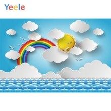 Yeele Cartoon Rainbow Cloud Sun Backdrops Baby Photography Backgrounds Customized Photographic Backdrop For Photo Studio
