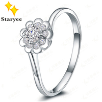 1 Carat Effect Real 18K Solid White Gold Simulated Diamonds Wedding Rings For Women Certified Factory