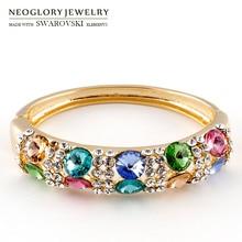 Neoglory, австрийский кристалл и Чешские стразы, браслет для женщин, цветной трендовый браслет с покрытием из сплава, изысканный подарок оптом