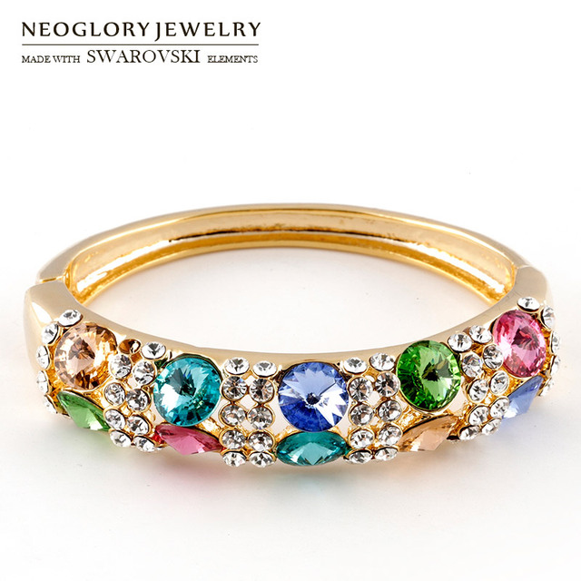 Neoglory Austria Crystal   Czech Rhinestone Bangle For Women Colorful  Trendy Alloy Plated Bracelet Exquisite Wholesale Gift 4bee18da472d