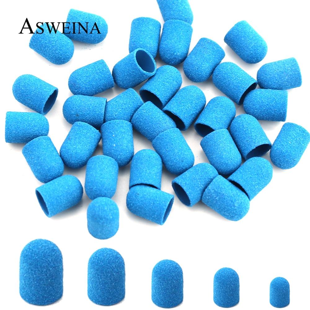 5pcs Blue Sanding Caps Multi-size Plastic Sand Block Electric Manicure Pedicure Tools Polishing Foot Care Accessories