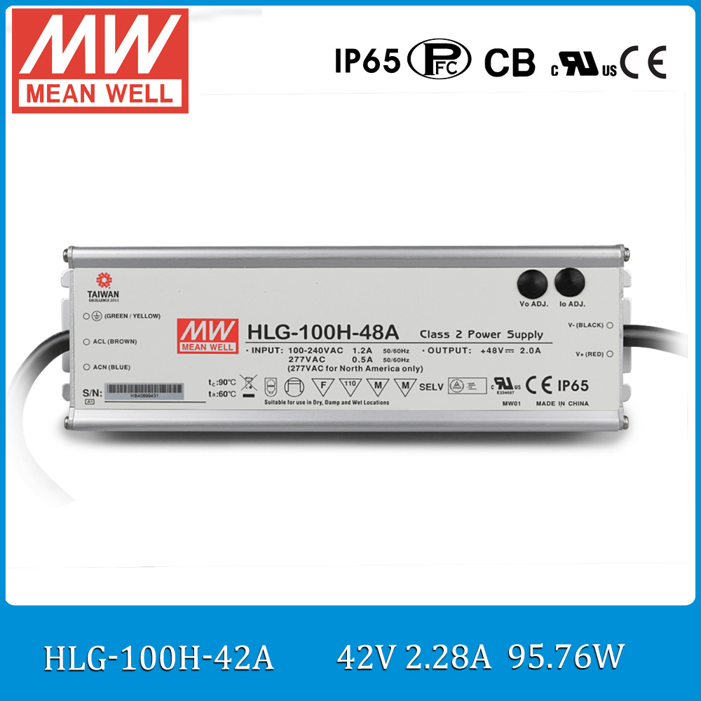 Original MEAN WELL HLG-100H-42A Waterproof LED Driver Single output 100W 42V 2.28A meanwell Switching Power Supply with PFC