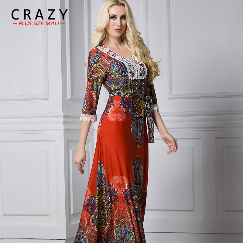 Large Size L-7XL Summer <font><b>Dress</b></font> 2019 Plus Size <font><b>Sexy</b></font> V-neck Half Sleeve Beach <font><b>Dresses</b></font> with Lace Boho <font><b>Dress</b></font> for Vacation 7XL <font><b>6XL</b></font> 5XL image